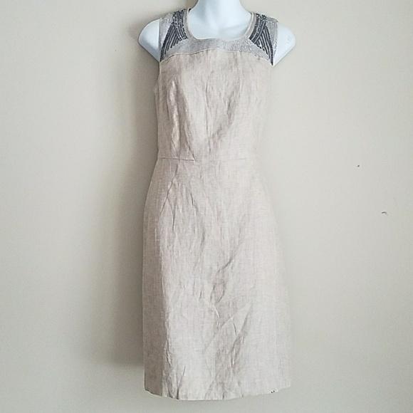 4db7af530a LOFT Dresses   Skirts - LOFT Tan Linen Sheath Dress Summer Size 4